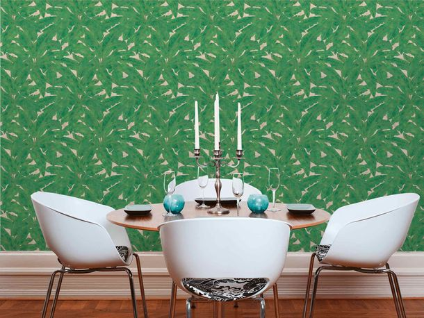 Non-Woven Wallpaper Leaves Fern green gold Gloss 36927-3 online kaufen