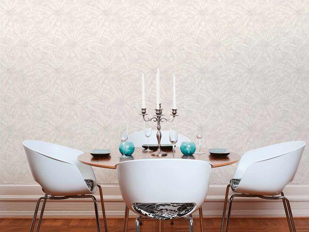 Non-Woven Wallpaper Leaves Fern cream white grey Gloss 36927-4 online kaufen