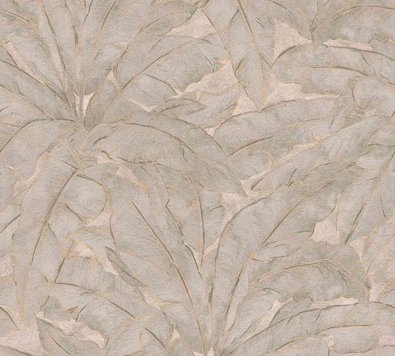Non-Woven Wallpaper Leaves Fern grey brown gold Gloss 36927-5 online kaufen