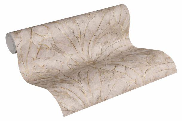 Non-Woven Wallpaper Leaves Fern grey brown gold Gloss 36927-5 online kaufen