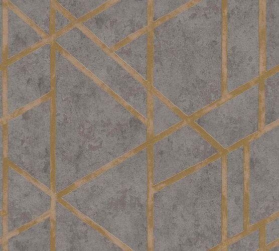 Vliestapete Beton Grafik dunkelgrau gold Glanz 36928-1 online kaufen