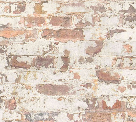 Non-Woven Wallpaper Stone Vintage cream orange 36929-1