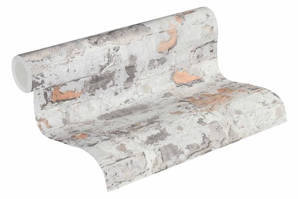Non-Woven Wallpaper Stone Vintage grey orange 36929-2 online kaufen