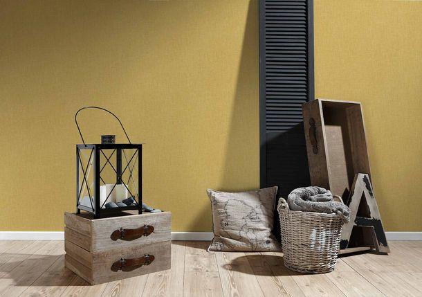 Non-Woven Wallpaper Textile Look Uni gold yellow 36922-1 online kaufen