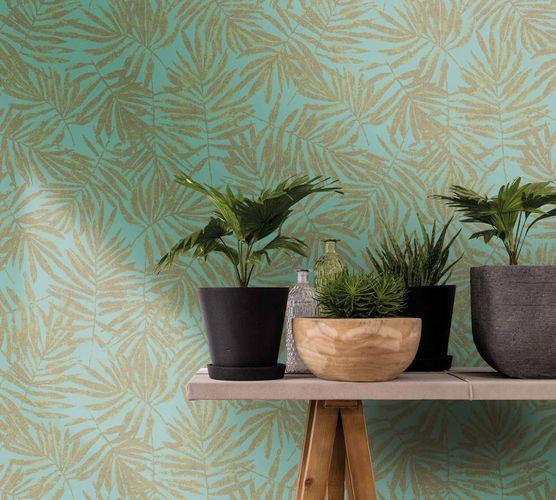 Tapete Vlies Blätter blau grün Metallic 31319 online kaufen