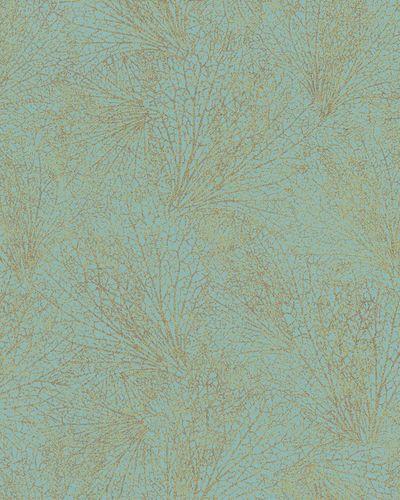 Tapete Vlies Blattmuster blau gold Metallic 31333