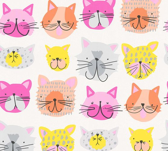 Kids Wallpaper Cat Kitten white colourful 36754-2 online kaufen