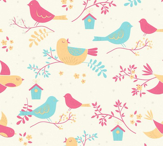 Kids Wallpaper Birds Flowers white pink Glitter 36756-2 online kaufen