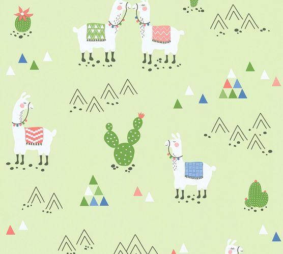 Kindertapete Kaktus Lamas grün bunt 36985-2
