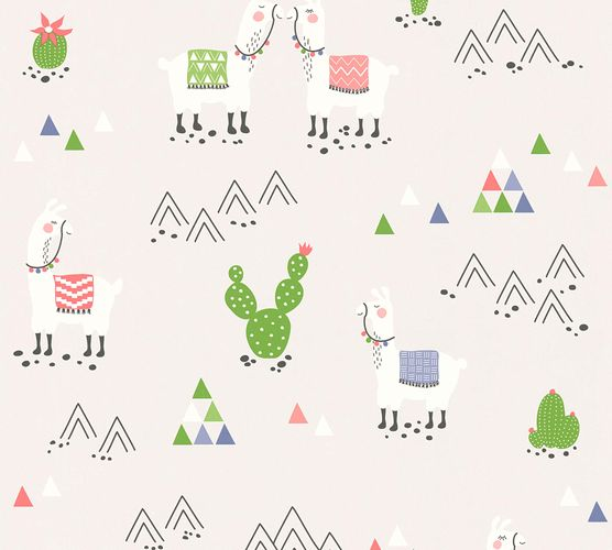 Kids Wallpaper Llama Cacti light grey colourful 36985-3 online kaufen