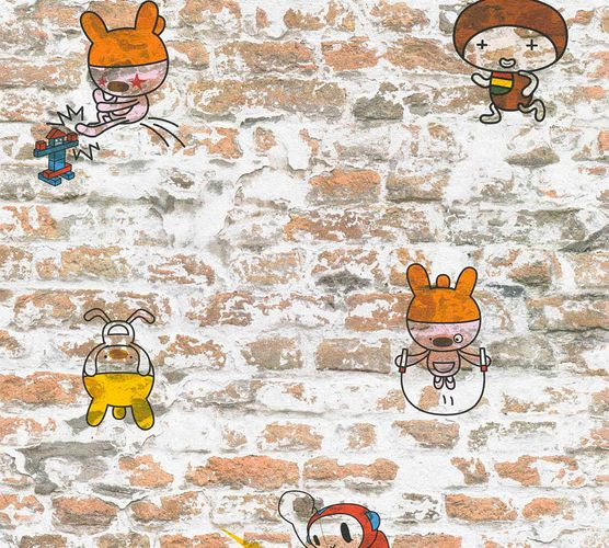 Kids Wallpaper Stone Wall Cartoon orange white 36987-1 online kaufen