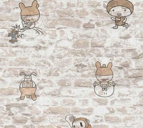 Kids Wallpaper Stone Wall Cartoon beige white 36987-3 online kaufen