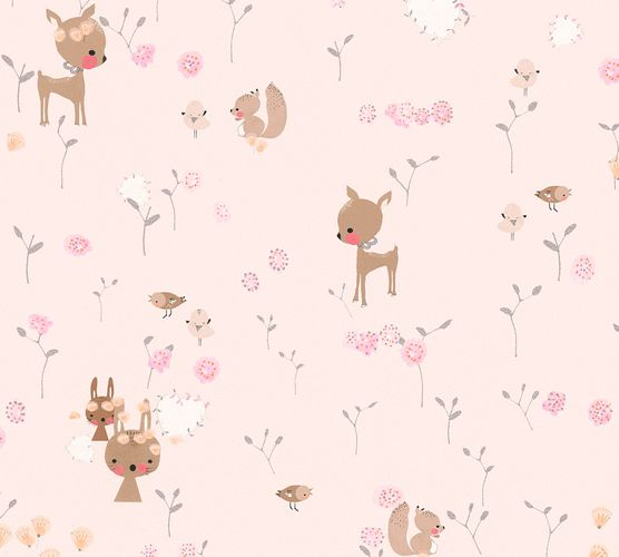 Kids Wallpaper Rabbit Doe rose colourful Metallic 36988-3 online kaufen