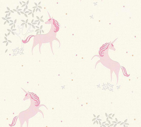 Kindertapete Einhorn Floral weiß rosa Glitzer 36989-1