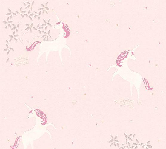 Kindertapete Einhorn Floral rosa weiß Glitzer 36989-3 online kaufen
