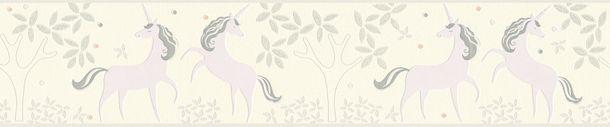 Kids Border Unicorns Floral white lilac Glitter 36990-2 online kaufen