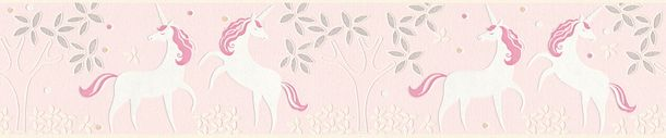 Kids Border Unicorns Floral rose white Glitter 36990-3 online kaufen