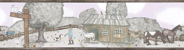 Kinderbordüre Pferdewiese grau rosa Jonas Kötz 46510 online kaufen