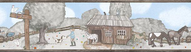 Kinderbordüre Pferdewiese grau hellblau Jonas Kötz 46511 online kaufen