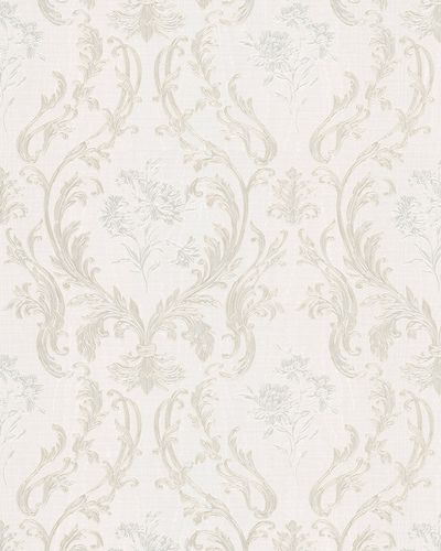 Non-Woven Wallpaper Damask cream silver Gloss 30601