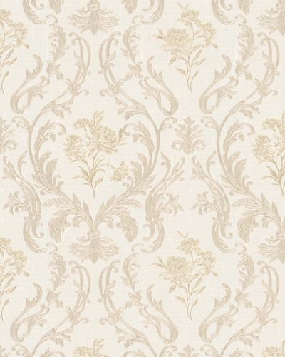 Non-Woven Wallpaper Damask cream green Gloss 30602