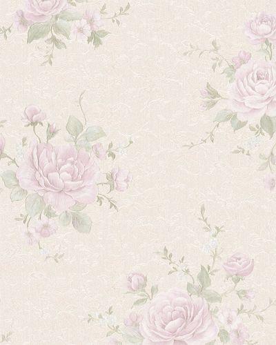 Tapete Vlies Rosen Blüten cremegrau gold Glanz 30614