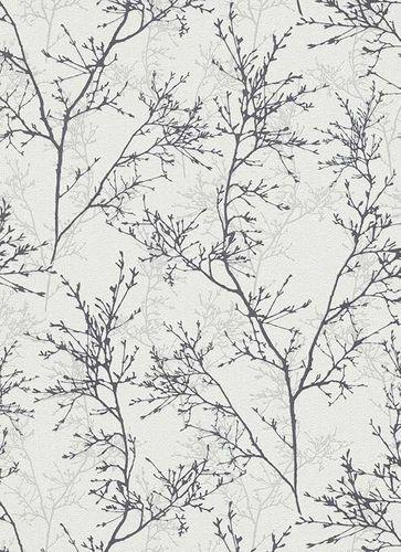 Non-Woven Wallpaper Branches white black Gloss 5432-10 online kaufen
