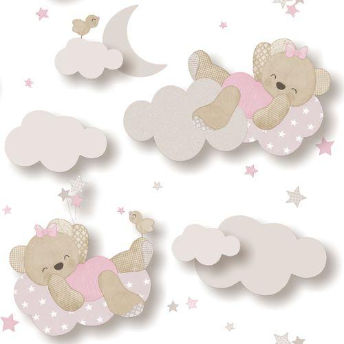 Tapete Kinder Teddybär Wolke weiß pink Glanz 005402