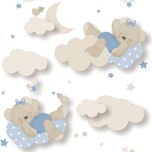 Kids Wallpaper bear clouds white blue Babylandia 005403 online kaufen