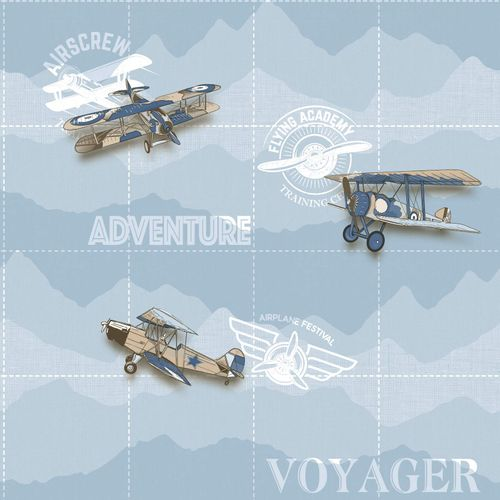 Kids Wallpaper airplane scripture light blue white 005414 online kaufen