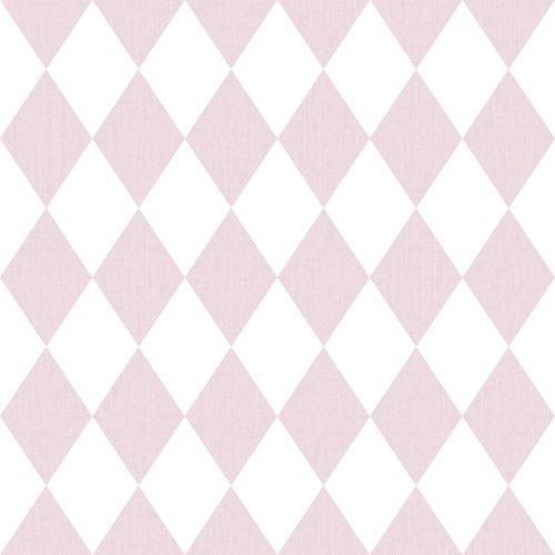 Tapete Kinder Rauten weiß rosa 005428