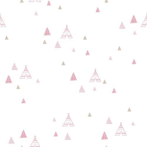 Tapete Kinder Zelt Indianer weiß rosa Glanz 005442 online kaufen