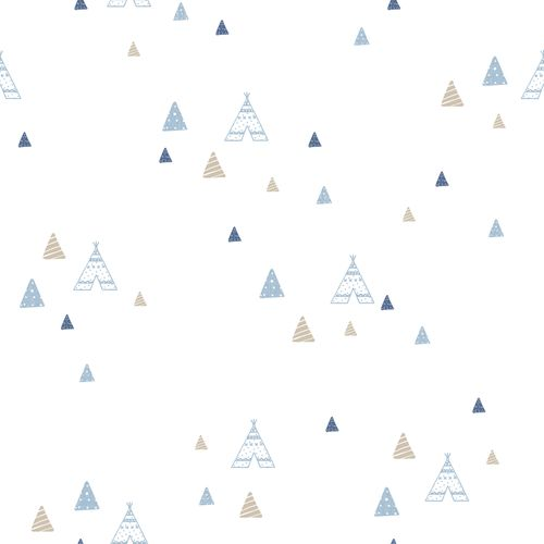 Kids Wallpaper tipi tent white blue Babylandia 005443 buy online