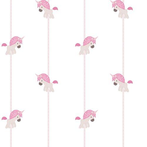 Tapete Kinder Einhorn Streifen weiß pink Glitzer 005455 online kaufen