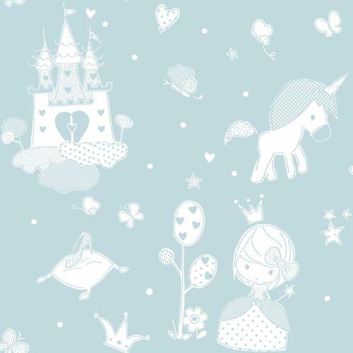 Tapete Kinder Prinzessin Schloss türkis weiß 005461