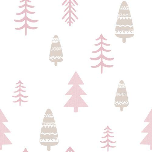 Tapete Kinder Baum weiß rosa 005464