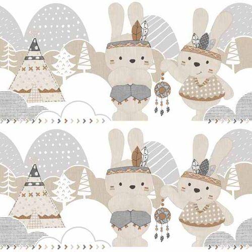 Bordüre Kinder Kaninchen Indianer weiß Glanz 005495