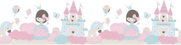 Bordüre Kinder Schloss Prinzessin weiß pink Glitzer 105499