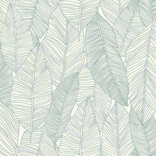 Non-Woven Wallpaper Leaves Abstract white green 139010 online kaufen