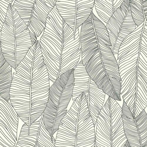 Vliestapete Blätter Linien schwarz weiß 139011 online kaufen