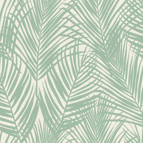 Vliestapete Textil Farnblätter türkis grau 039005 online kaufen