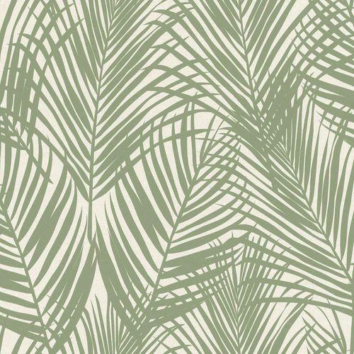 Vliestapete Textil Farnblätter graugrün grau 039006 online kaufen