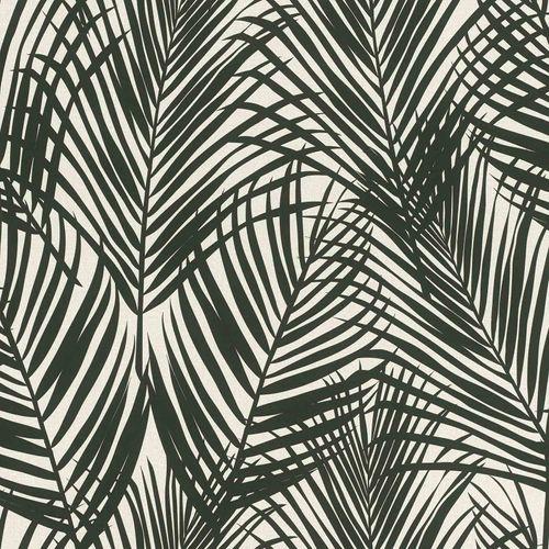 Non-Woven Wallpaper Fern Textile Look black grey 139008 online kaufen