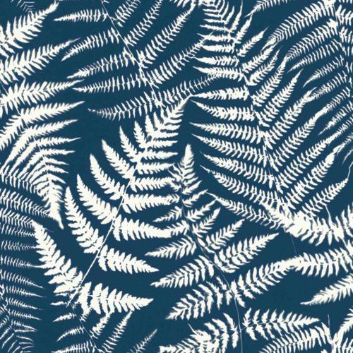 Non-Woven Wallpaper Fern Leaves Negativ blue white 139000 online kaufen