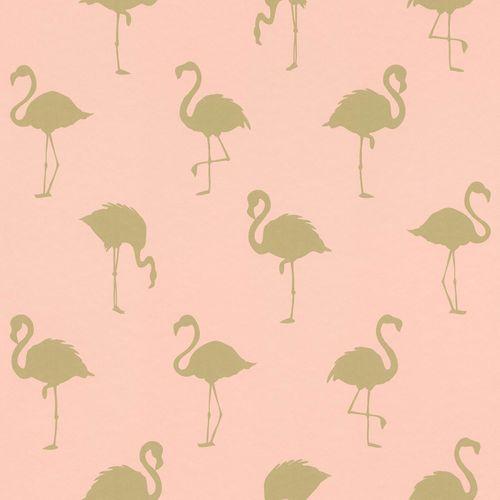 Vliestapete Silhouette Flamingo rosa gold Metallic 138994