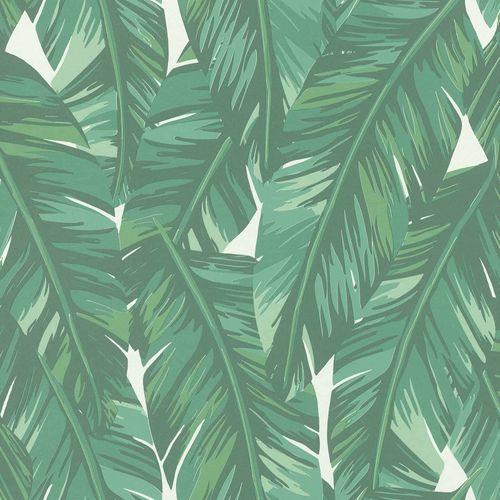 Vliestapete Blätter Gezeichnet grün weiß 139014 online kaufen