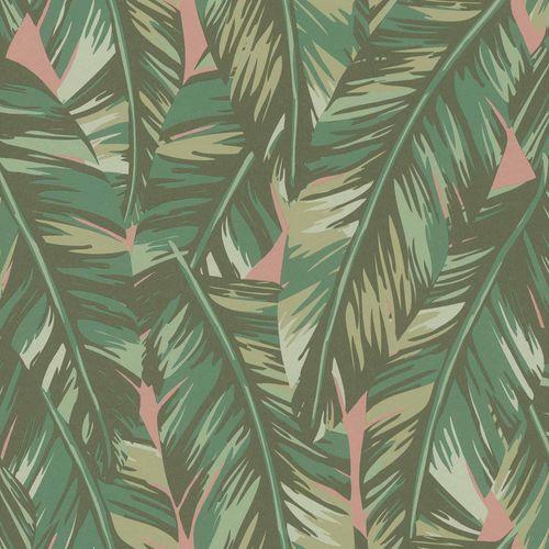 Vliestapete Blätter Gezeichnet grün rosa 139015 online kaufen
