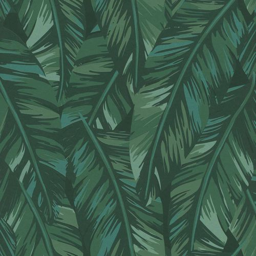 Non-Woven Wallpaper Palm Leaves Drawing green 139016 online kaufen