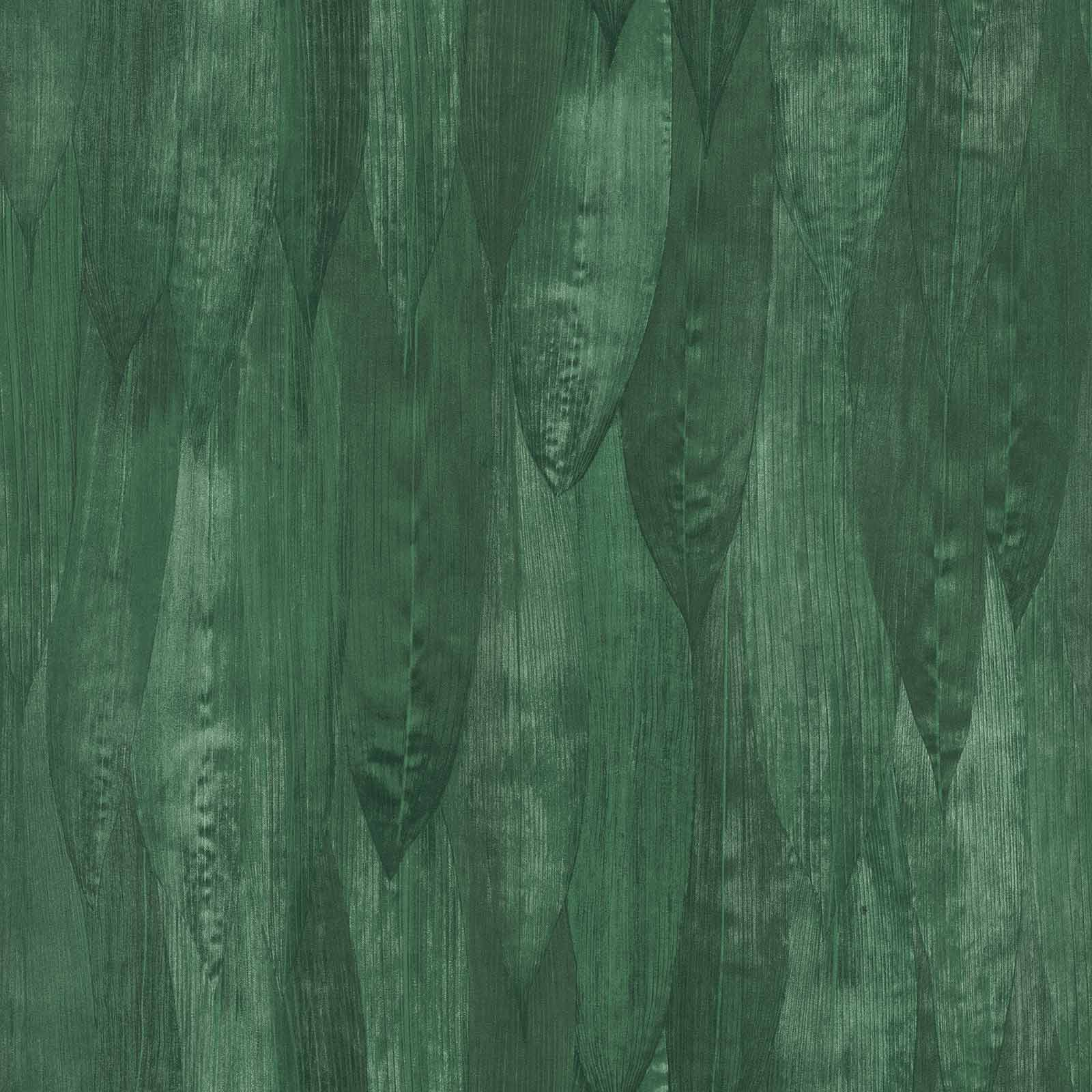 Non Woven Wallpaper Reed Leaves Floral Dark Green 138988