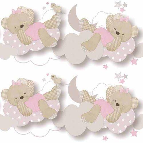 Bordüre Kinder Teddy Wolke weiß rosa Glanz 005492 online kaufen